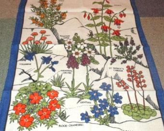 Vintage Irish Wild Flowers Linen Tea Towel Vivid Colors