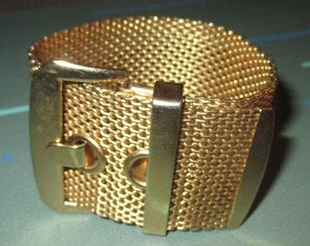 Vintage MOD Gold Tone Mesh Wide Buckle Bracelet