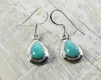Amazonite earrings Amazing color, drop shape 925 sterling silver hypoallergenic silver hooks