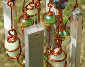 March Birthstone, Aquamarine Windchime with Recycled Aluminum & Iridescent Spring Green and Celestial Blue Glass Marbles, Garden Decor