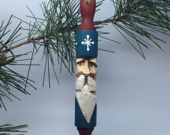 Primitive Christmas Carved Santa Claus Rolling Pin Christmas Ornament With Painted Snowflakes
