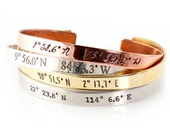 Coordinates Bracelet - Personalized Cuff Bracelet with Your Custom Latitude and Longitude in Silver, Gold and Rose Gold