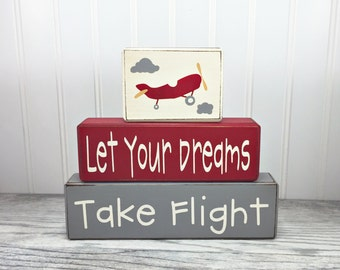 Airplane stacking wood sign blocks let your dreams take flight little boys room airplane shelf sitters nursery baby shower centerpiece