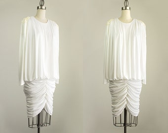 90s Vintage White Grecian Cascade Tunic Style Draped Evening Dress With Fringe Beaded Epaulets / Size Small / Medium / Disco Diva / Glam