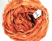 Sari Silk Ribbon, Recycled Silk Sari Ribbon, orange Ribbon, orange sari ribbon, Harvest sari ribbon, Fall ribbon