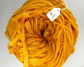 Sari Silk ribbon, Recycled Silk Chiffon Sari Ribbon, gold sari ribbon, Aztec gold chiffon ribbon, gold ribbon