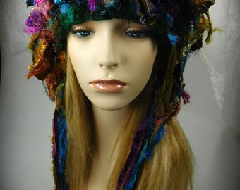 Crocheted Silk Sari Ribbon Hat, Crocheted Sari ribbon Hat, Silk Sari Ribbon Hat, Ribbon hat, crocheted hat