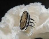 Clear Smoky Quartz Ring Size 8.75