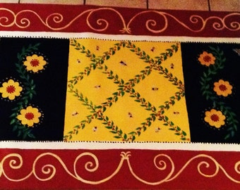 FLOORCLOTH , hand painted rug  COUNTRY PRIMITIVE  Folkart  3'x5' / Honey Bees