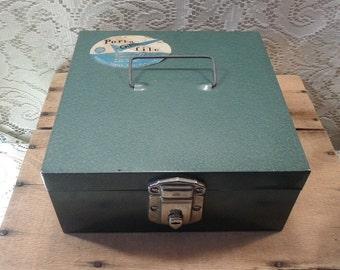 Vintage metal check file box with key green metal file box