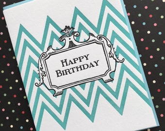 ZigZag Birthday - letterpress card