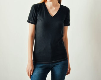 Black Tee with White Stitches
