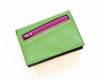 Women's Leather Wallet, Green Leather Wallet, Personalized Wallet, Womens Trifold Wallet, Zipper Wallet, The Frances Wallet in Lime Green