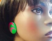 Vintage 80's earring Green Pink metal painted enamel bubble baubles big mod earrings