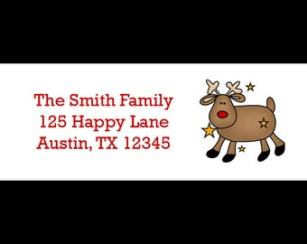 30 Personalized Christmas Return Address Labels  - Reindeer Design