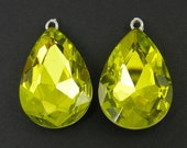 Large Olivene Yellow Green Teardrop Rhinestone Earring Findings Pendant Charms Bridesmaid Special Occassion Dressy Jewelry Supply |GR9-9|2