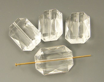 Clear Beads - Large Clear Faceted Rectangle Plastic Beads |OB1-11|6