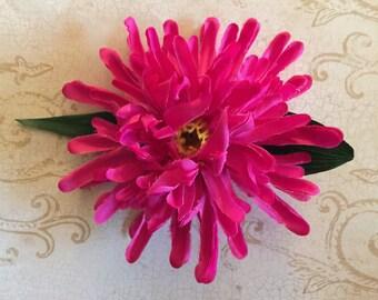 Dark pink mum flower barrette/Valentines