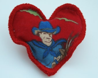 Red Heart Brooch / Pin - The Cowboy