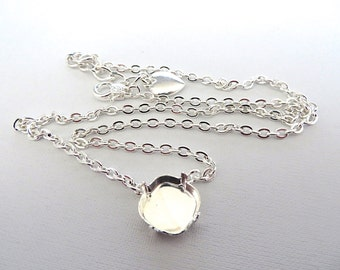 Solitaire Square Stone Silver Plated Empty Cup Chain Necklace for 12mm 4470