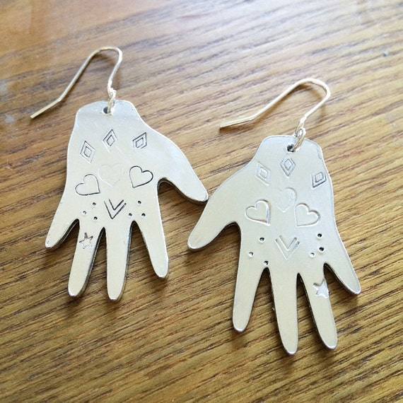 Heart Design Hand Earrings - Frida Kahlo - Tattoo - Love - Gypsy - Festival - Folk Art