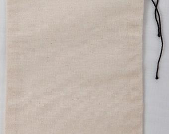 25 6x10 inch Cotton Muslin Black Hem and Black Drawstring Bags
