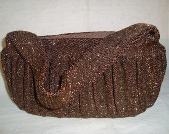 Gorgeous 40's Copper Beaded Purse