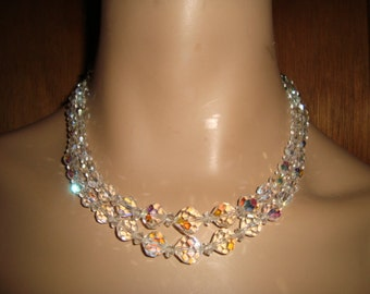 60's Crystal AB Necklace & Clip Earrings
