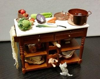 Miniature kitchen table for dollhouse 1/12: Vegetable soup