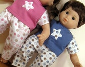 Bitty or Bitty Twin Doll Clothes - Boy Girl Twins Star appliqued Pajamas - Pink and Blue 4 piece set