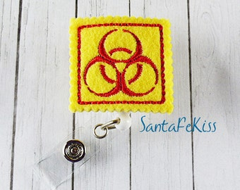 Biohazard Felt Badge Holder with Retractable Badge Reel. A great gift for yourself or for your favorite nurse, coworker