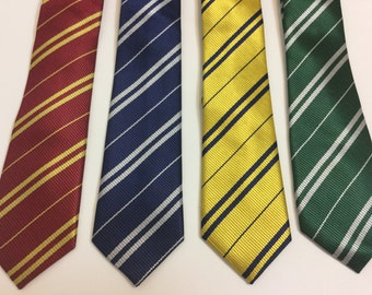 Gryffindor - Slytherin- Ravenclaw - Hufflepuff inspired House Neckties - Costume Accessory, Cosplay