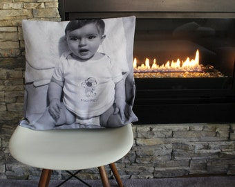 Sample personalized photo throw pillow cushion cover gift, grandparents gift newborn baby memento Mother's Father's Day birthday Christmas
