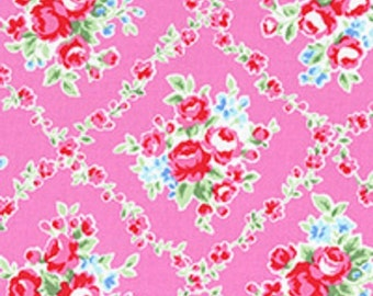 Pink Red White Lattice Rose Floral 31269 20 Fabric by Lecien Flower Sugar