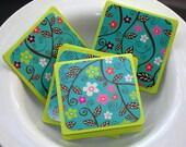 Teal Flowers Mini Card Set