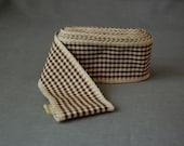 Brown & Cream Gingham ribbon ~ 4 yards