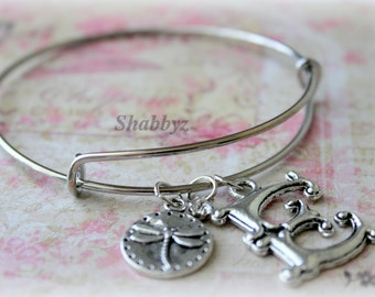 Letter E initial Bangle Bracelet with Charms, dragon Fly, Crystal, Unique, Trendy, Personalized, E, Silver, Fast Shipping, Ready