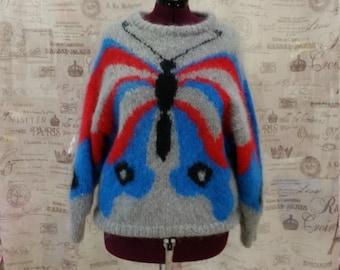 Vintage Kenoran Knitwear Butterfly Moth 80s Ugly Sweater SZ L