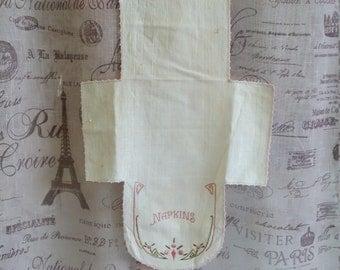 Vintage Embroidered Napkin Doily Linen Retro Kitchen