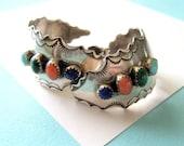 SALE..Navajo Gemstone and Sterling Stamped Half Hoop Earrings