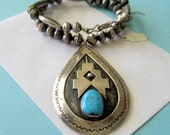 Navajo Edward King Turquoise and Sterling Silver Bench Bead Necklace