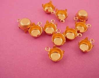 24 Brass Round Prong Settings 29SS 6mm 1 Ring closed Back
