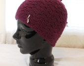 Wool Adult Hand-knit Hat in a Deep Wine Color