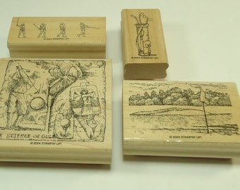The Back Nine Wood Mounted Rubber Stamp Set From Stampin Up 104122 Golf, Golfer, Golf Clubs, Golf Ball