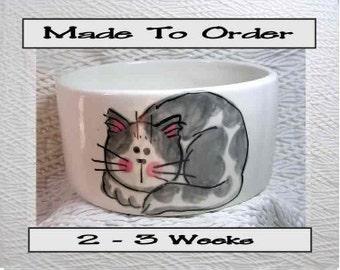Medium Pet Bowl Grey & White Cat and Paw Prints Inside 20 Oz. Ceramic