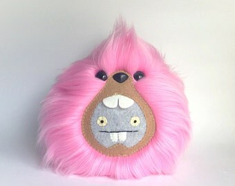 Pink Babo Uglydoll Monster made Exclusively for UglyCon at Giant Robot in L.A., Plush Fluffy Handmade Fuzzy Kawaii Plushie, READY to SHIP