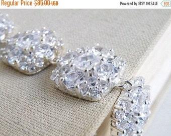 Clearance SALE Bridal Bracelet Ivanka Trump Cushion CZ Silver IB4
