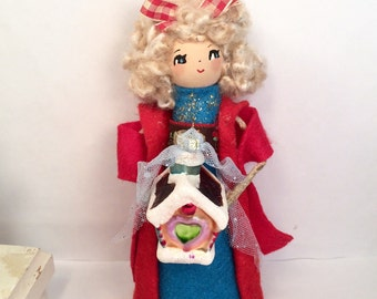 Christmas doll christmas tree topper gingerbread house vintage retro inspired blond doll Earopean inspired Christmas centerpiece doll