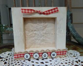 Decorative Winter Framed Stitchery, Snowflake, Hand Stitched, Burlap Ribbon