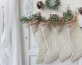 MableBlues White Christmas Stocking, I am Dreaming of a White Christmas, Handmade, Christmas in July, Cream and Ruffles, Set of Four